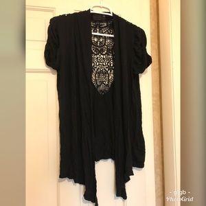A New Approach Black Short-Sleeve Cardigan